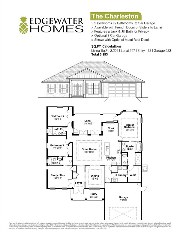 Charleston Floor Plan The Charleston Edgewater Homes