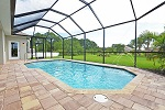 Pool with quartz interior finish and 'spitters' for a soothing water sound